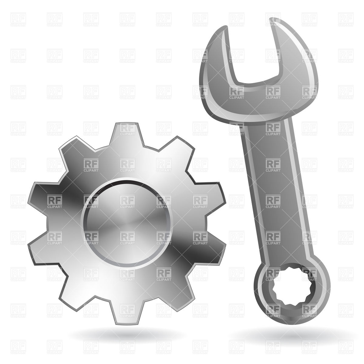 1200x1200 Wrench And Gear Wheel Vector Image Vector Artwork Of Objects