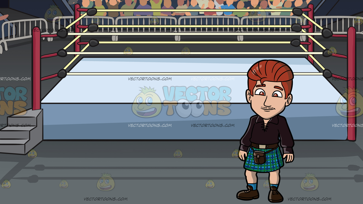 1200x674 A Sleek Man In Kilt At A Wrestling Ring Inside An Arena Clipart