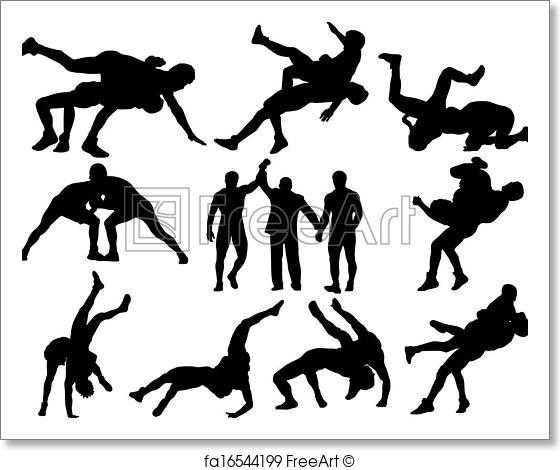 560x470 Free Art Print Of Wrestling Vector Silhouettes. Layered And Fully