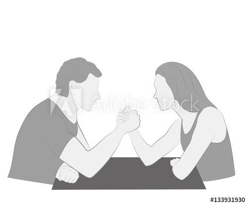 500x413 Men Vs. Women. Arm Wrestling. Vector Illustration