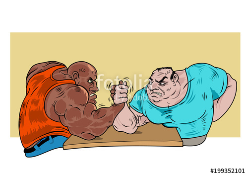 500x354 Two Guys Practicing Arm Wrestling. Vector Illustration Stock