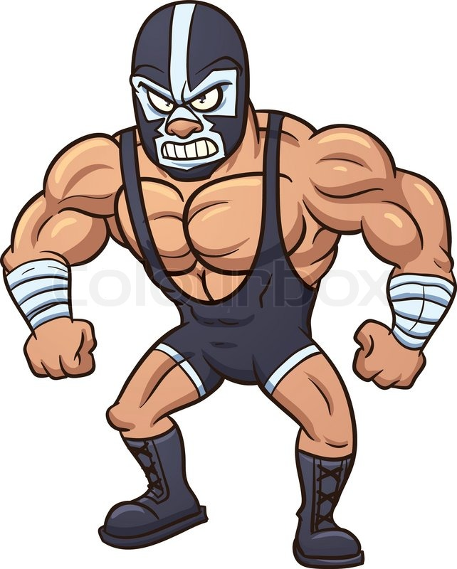 642x800 Angry Cartoon Mexican Wrestler. Vector Illustration With Simple