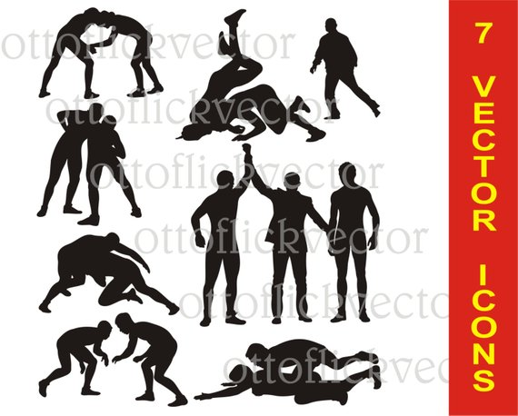 570x458 Wrestling Vector Silhouettes Clipart Eps Ai Cdr Png Jpg Etsy