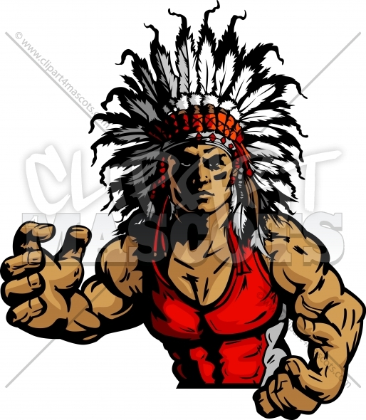 514x590 Wrestling Indian Chief Mascot Graphic Vector Image
