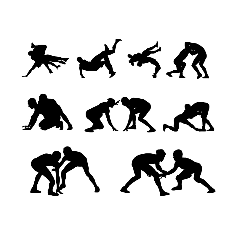 800x768 Wrestling Player Silhouettes