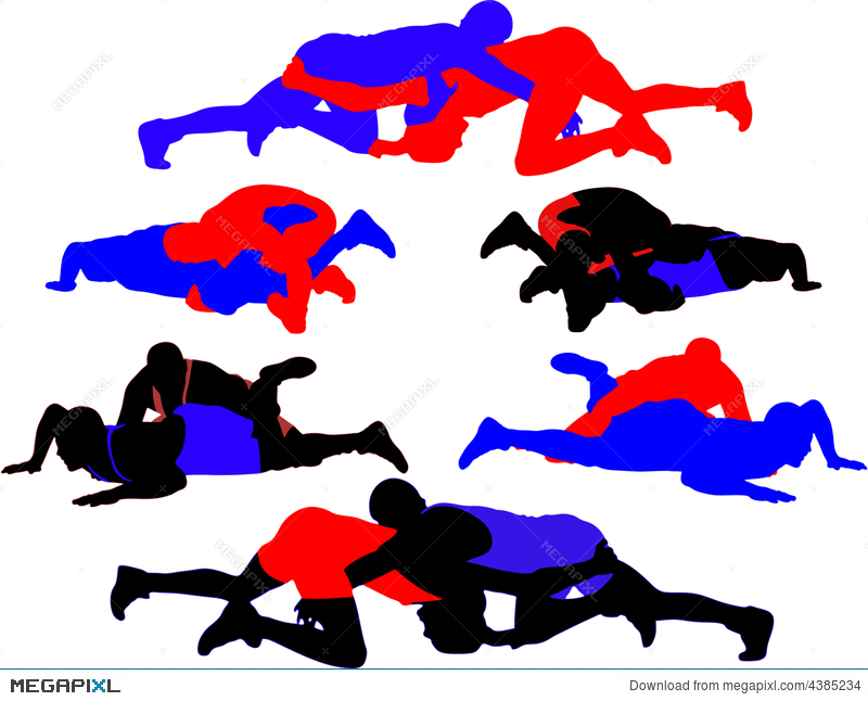 800x646 Wrestling Vector Silhouettes Illustration 4385234