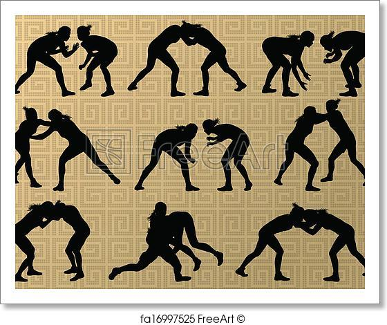 560x470 Free Art Print Of Greek Roman Wrestling Active Young Women Sport