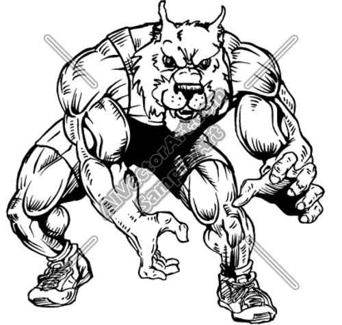 500x475 Wolf Wrestler Ready To Wrestle Clipart And Vectorart Sports