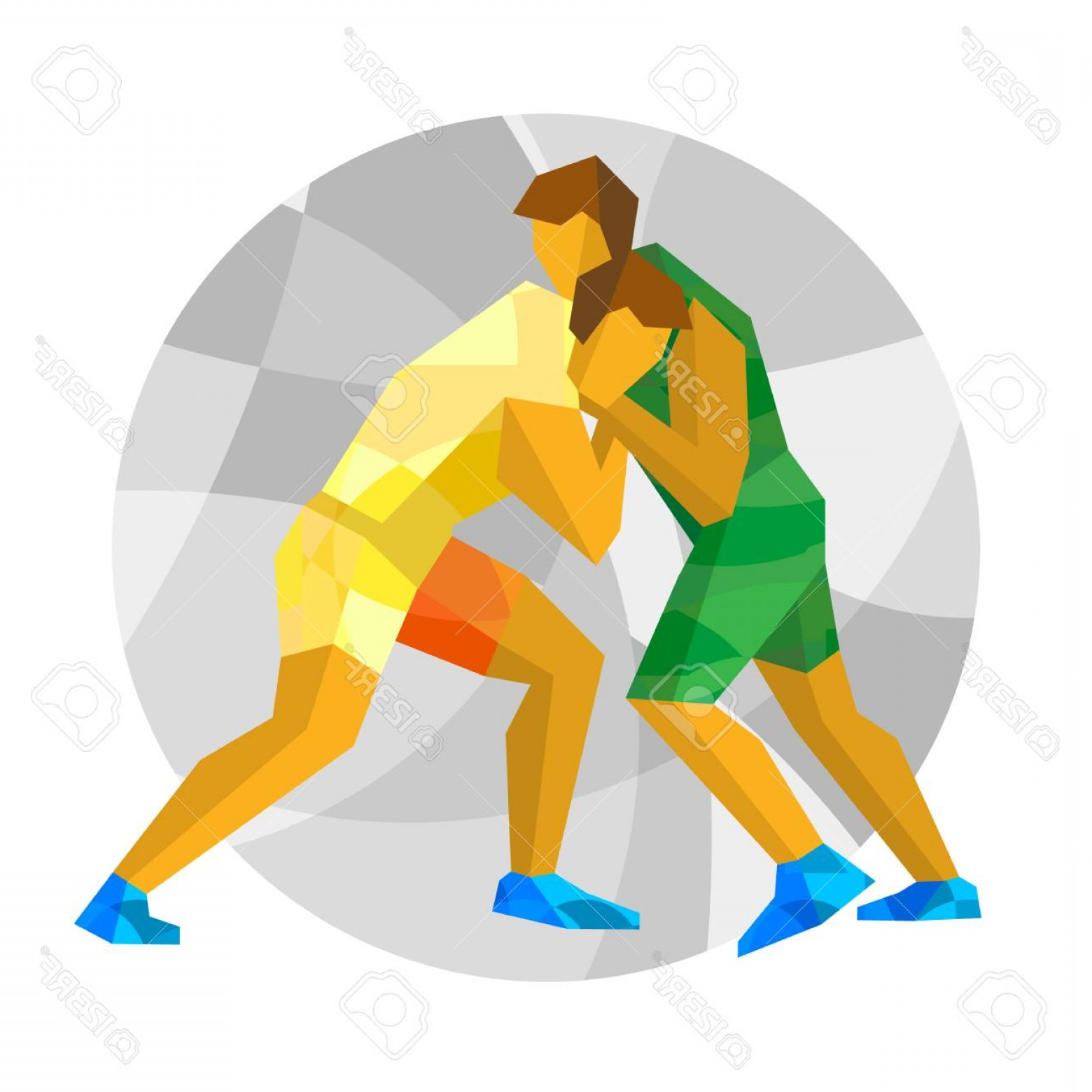 1560x1560 Photostock Vector Wrestling With Abstract Patterns Flat Athlete