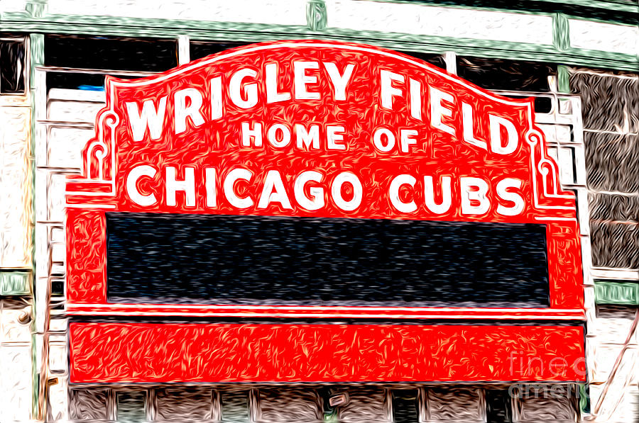 900x597 Wrigley Field Chicago Cubs Sign Digital Painting Photograph By