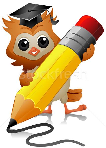 428x600 Owl Writing Vector Illustration Lenm ( 506420) Stockfresh