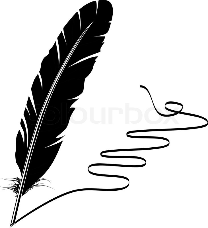 731x800 Vector Mohochrome Writing Old Feather And Flourish Stock Vector