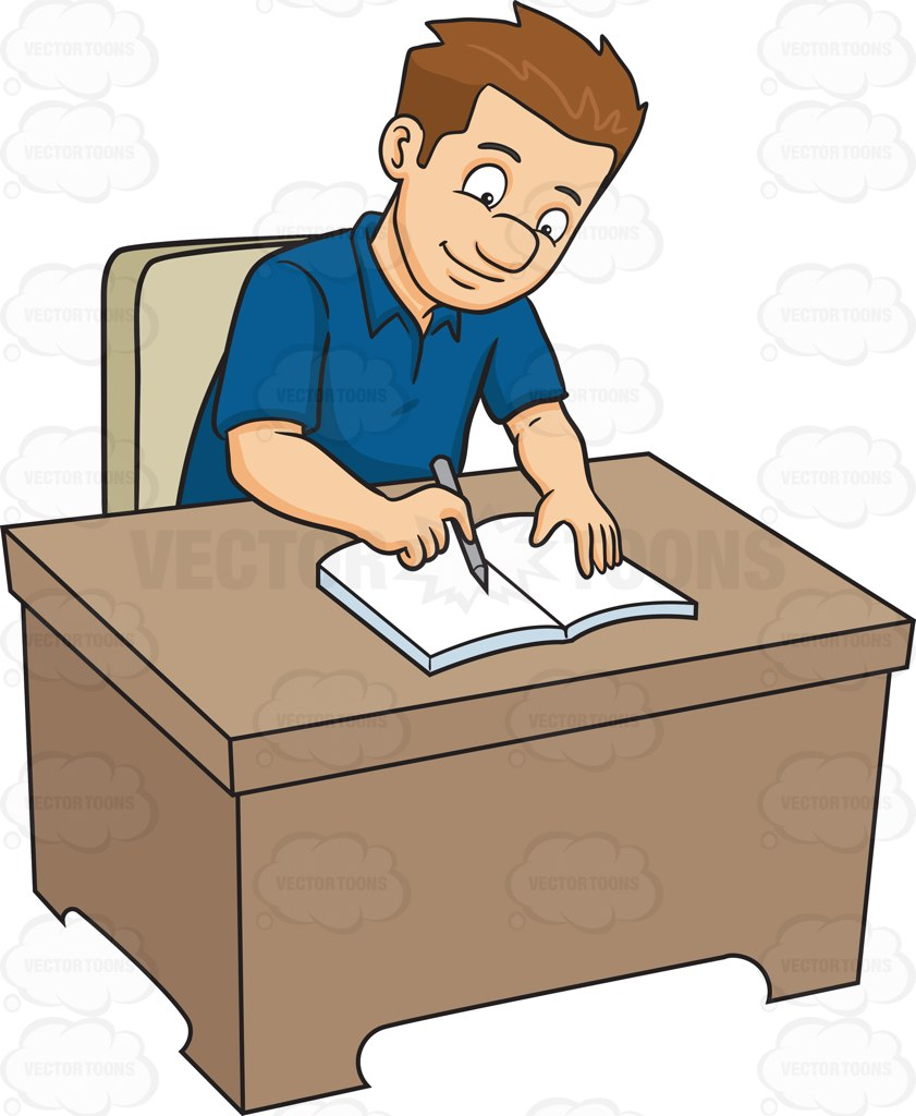 841x1024 A Man Writing On His Journal Clipart By Vector Toons