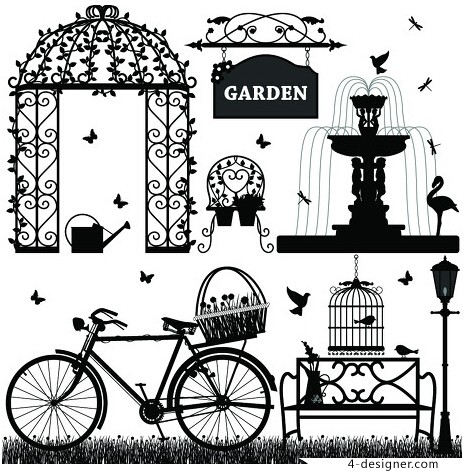 467x473 4 Designer Black And White Wrought Iron Elements Vector Material