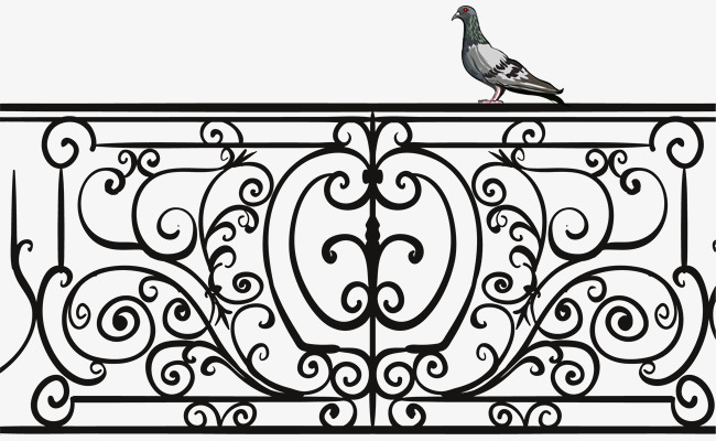 650x400 Vector Hand Painted Wrought Iron Railing, Vector, Hand Painted
