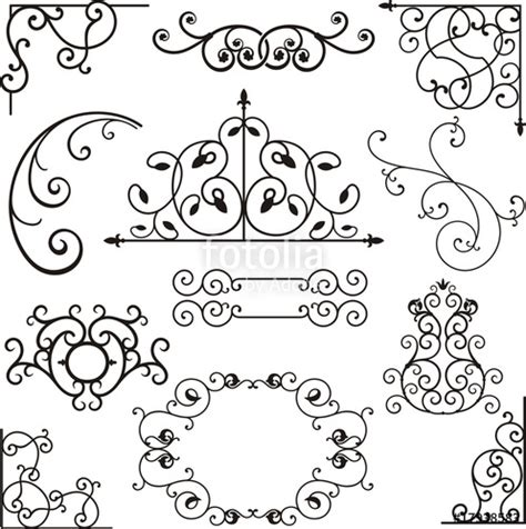 474x476 Wrought Iron Corner, Border Design Elements Vector Art, Roth Iron