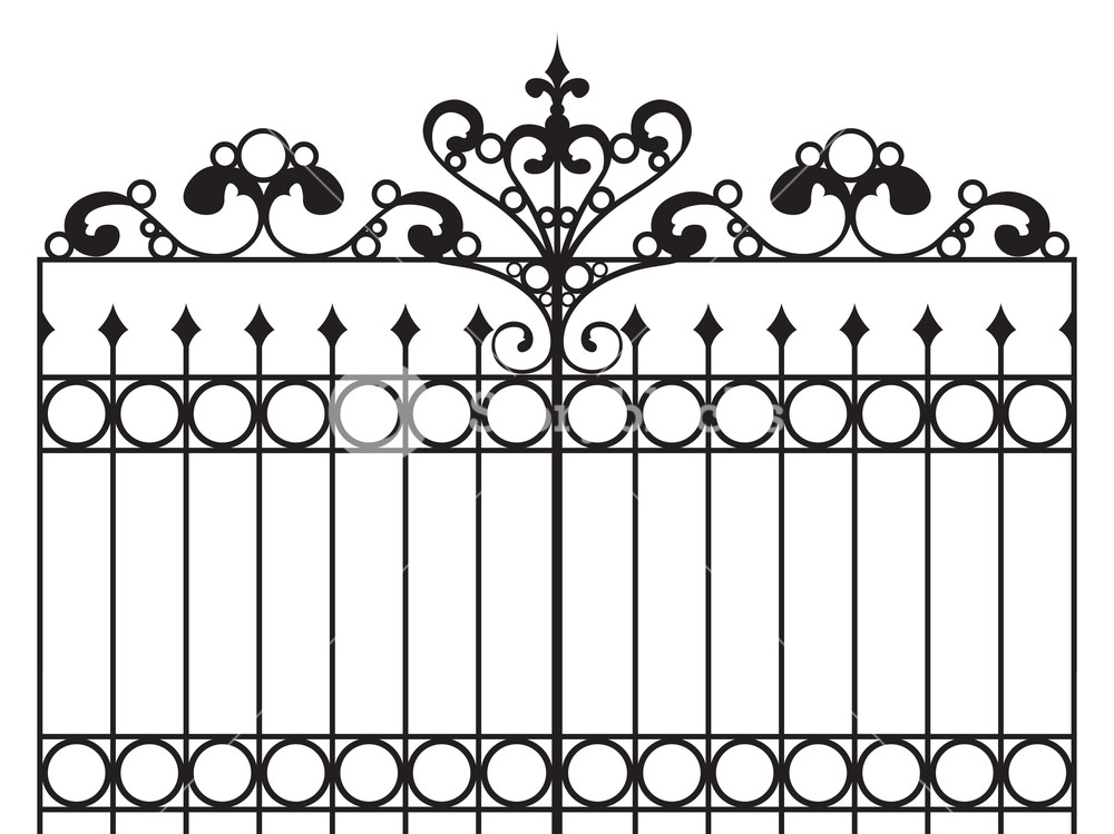 1000x749 Wrought Iron Gate Vector Illustration Royalty Free Stock Image