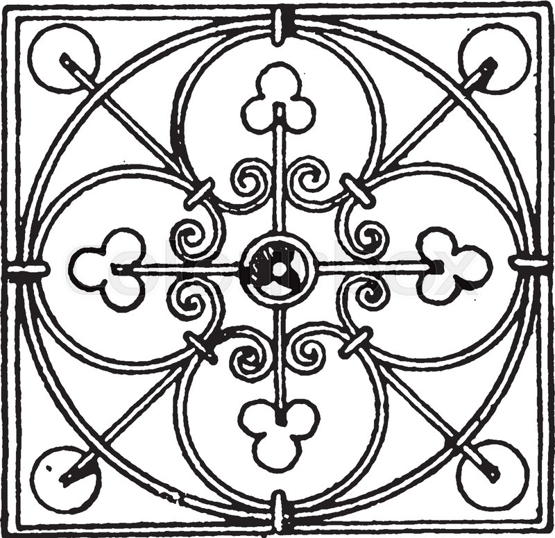 800x775 Wrought Iron Square Panel Is A Modern Design, Vintage Line Drawing