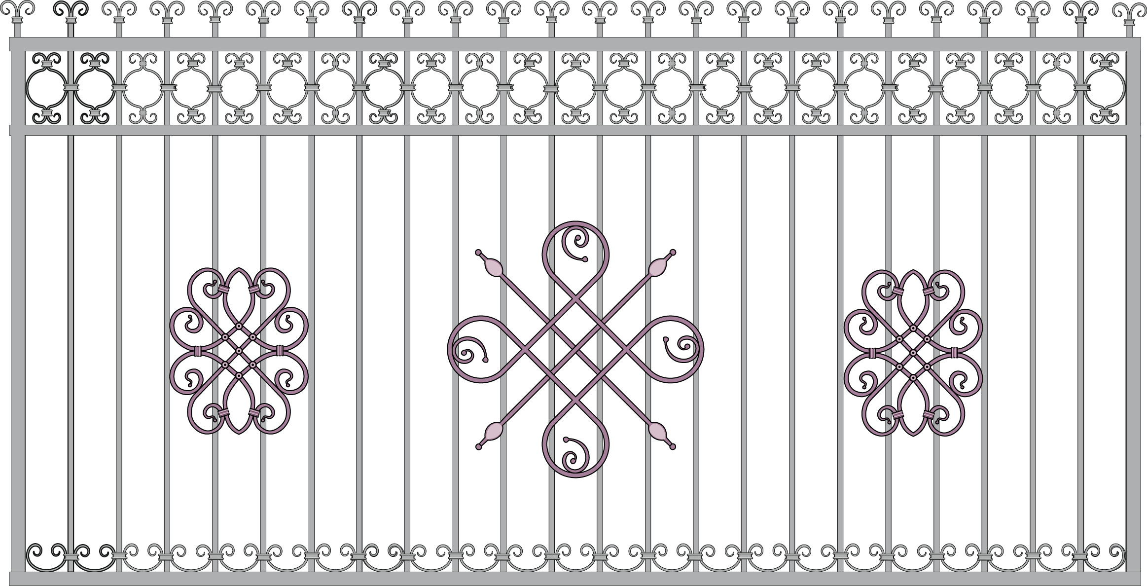 2326x1188 Wrought Iron Fence Gate Grille