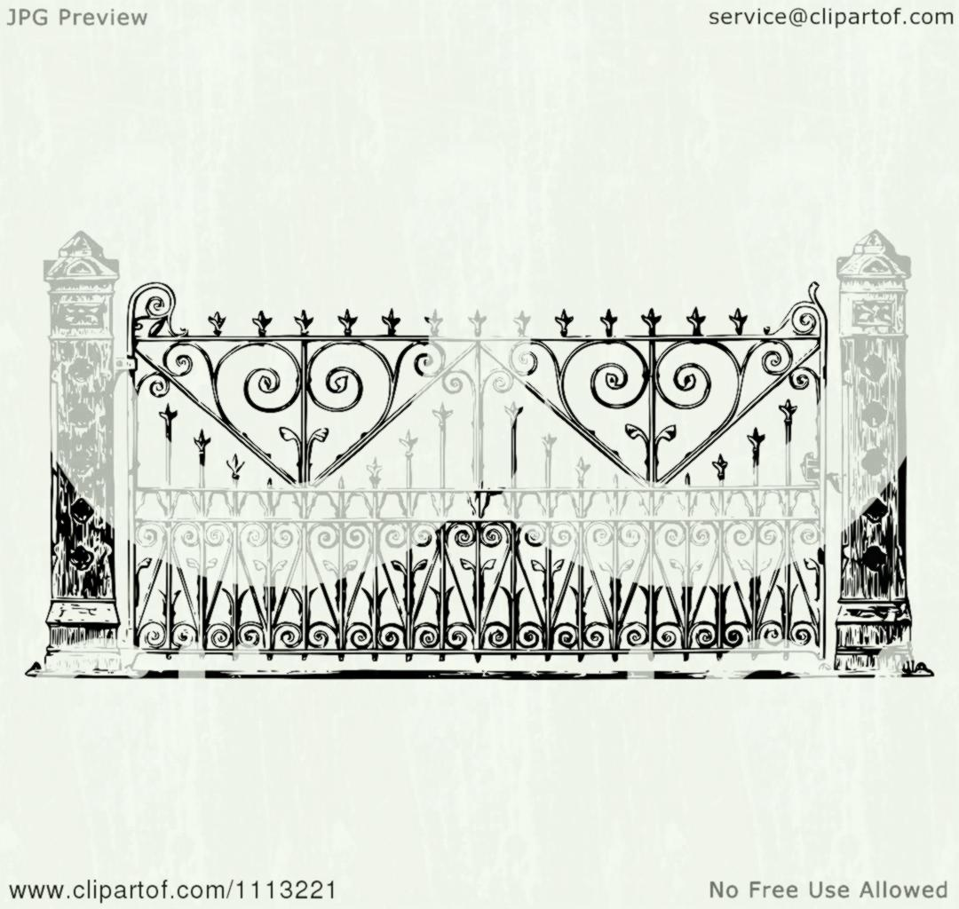 1080x1024 Clipart Vintage Ornate Black And White Wrought Iron Gate Royalty