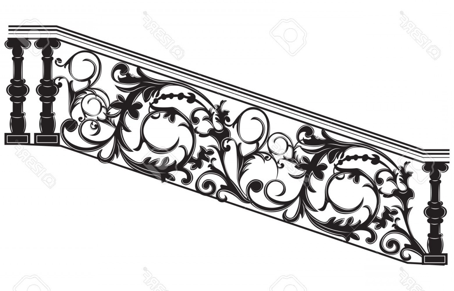 1560x1000 Photostock Vector Stair Railing Vector Wrought Iron Stairs Railing