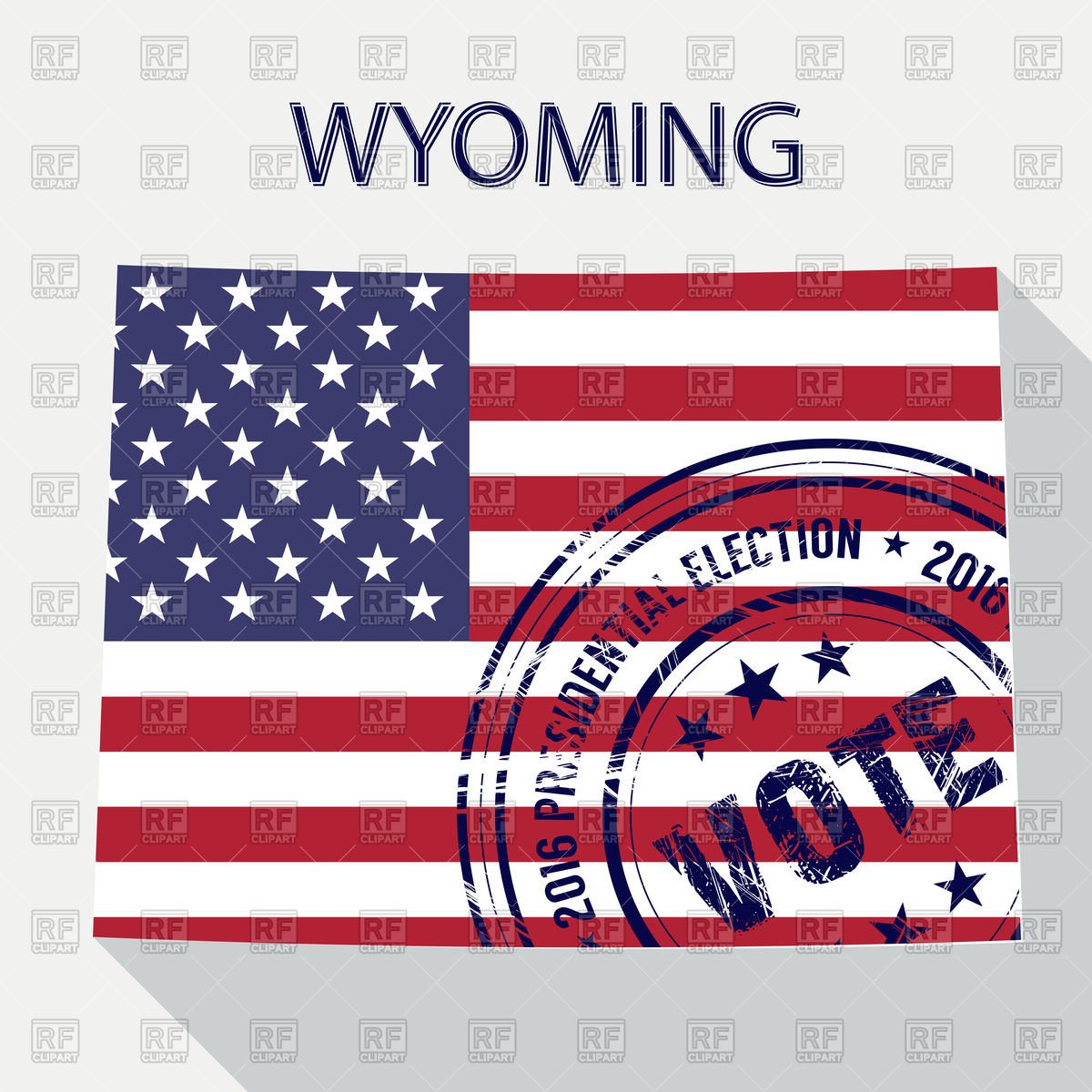 1200x1200 State Of Wyoming Map With Flag And Presidential Day Vote Stamp
