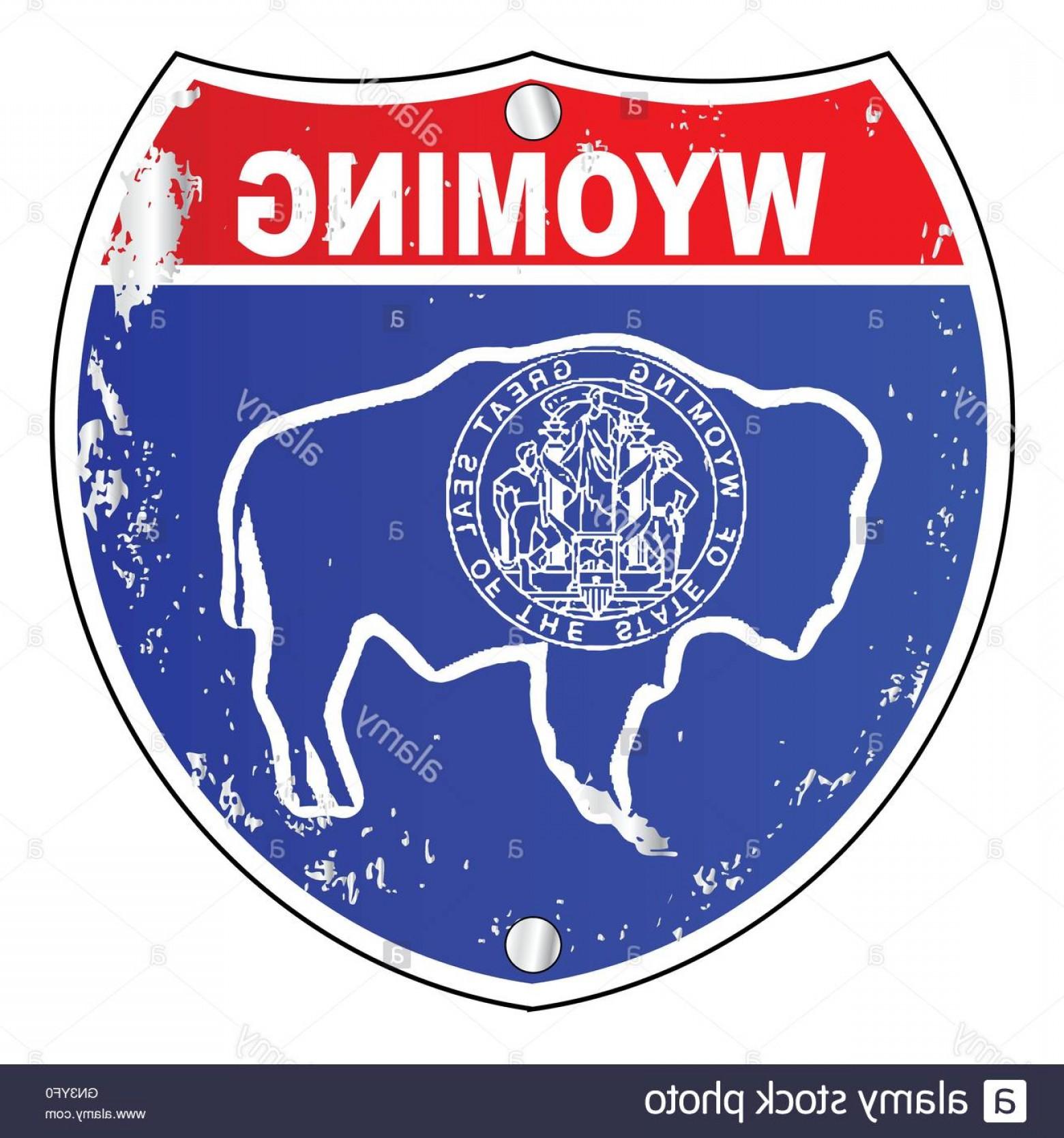 1560x1668 Stock Photo Wyoming Flag Icons As Interstate Sign Orangiausa