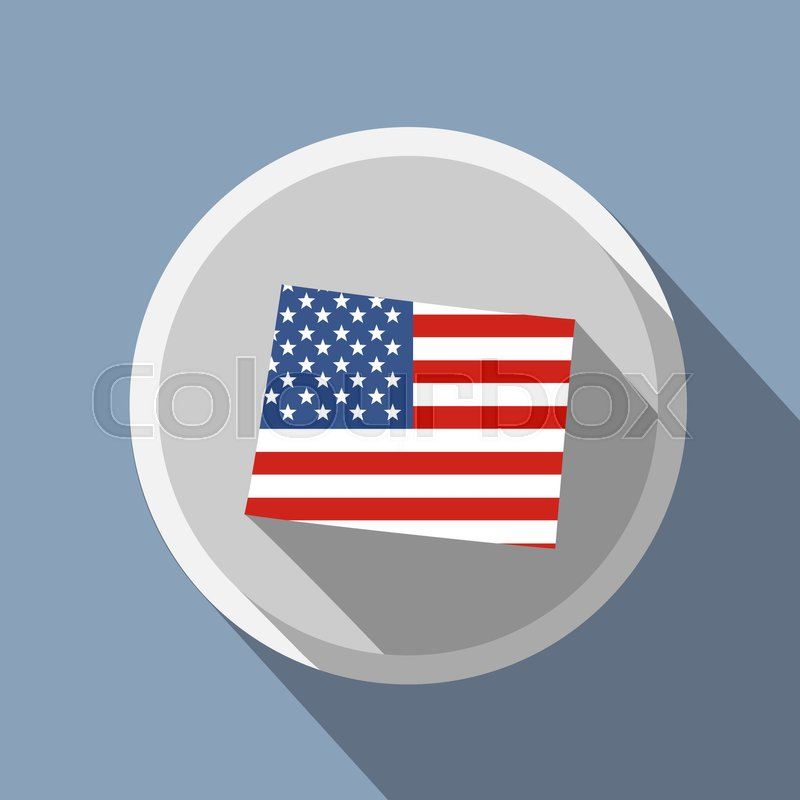 800x800 U.s. State On The U.s. Map Wyoming American Flag Stock Vector