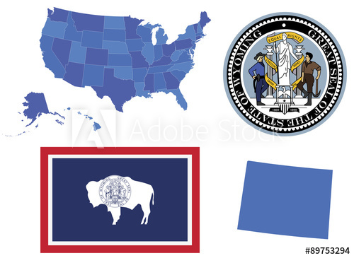 500x365 Vector Illustrator Of Wyoming State,contains High Detailed Map Of