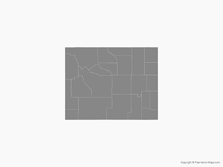 460x345 Vector Map Of Wyoming With Counties