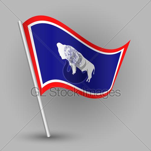 500x500 Vector Waving Simple Triangle American State Flag On Slan... Gl