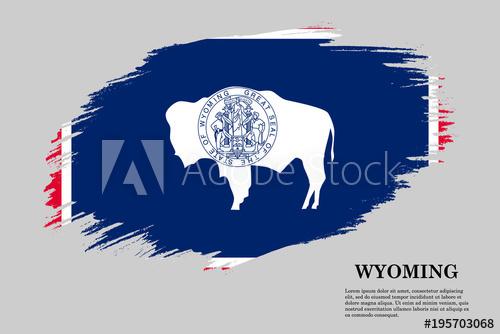 500x334 Wyoming Grunge Styled Flag. Brush Stroke Background