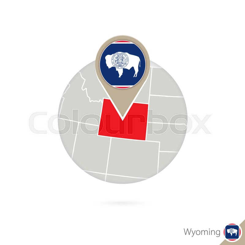 800x800 Wyoming Us State Map And Flag In Circle. Map Of Wyoming, Wyoming