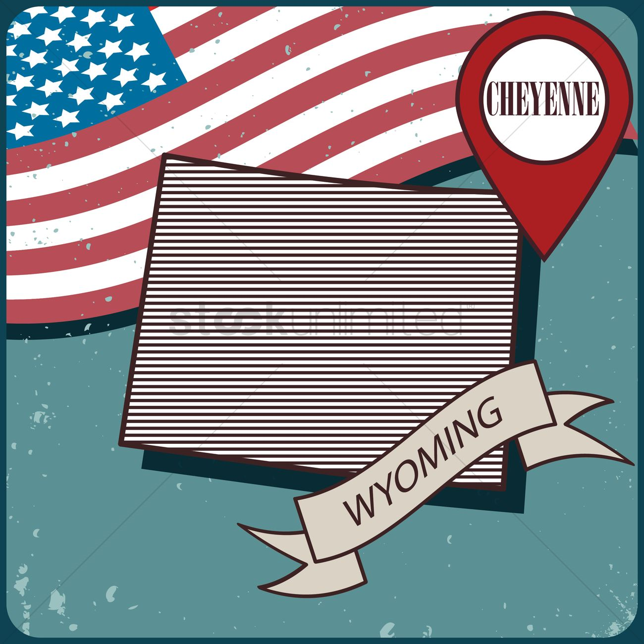 1300x1300 Wyoming Map Label Vector Image