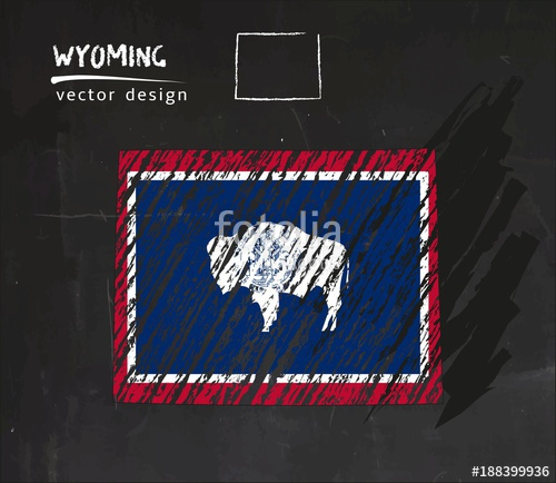 500x434 Wyoming National Vector Map With Sketch Chalk Flag. Sketch Chalk