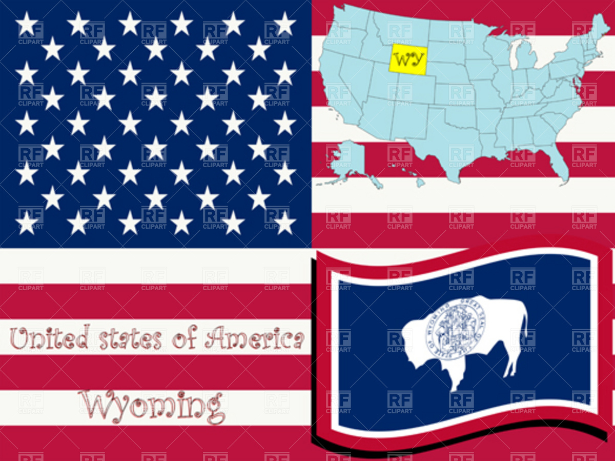 1200x899 Wyoming State Over Usa Flag And Map Vector Image Vector Artwork