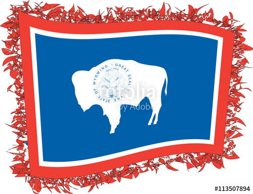 500x382 Flag Of Wyoming. Vector Illustration Of A Stylized Flag. Stock