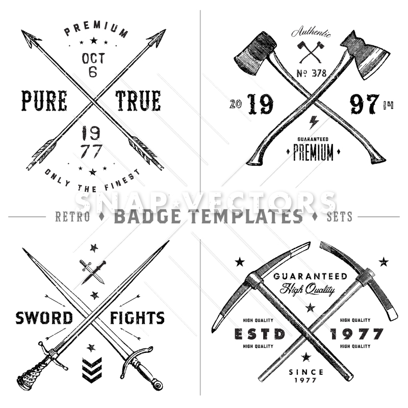 800x800 Vector Retro X Badge And Vintage Hipster Logo Template Set