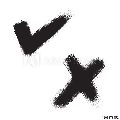 500x500 Black Hand Painted Check Mark And X Mark. Vector Illustration