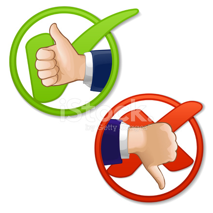 440x440 Thumbs Up Check And Down X Mark Stock Vector