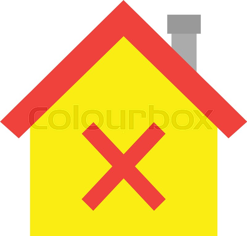 800x766 Vector Red Roofed Yellow House Icon With Red X Mark Stock Vector