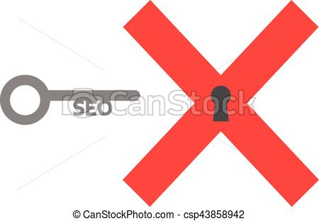 450x312 X Mark And Seo Key. Vector Red X Mark With Seo Key.