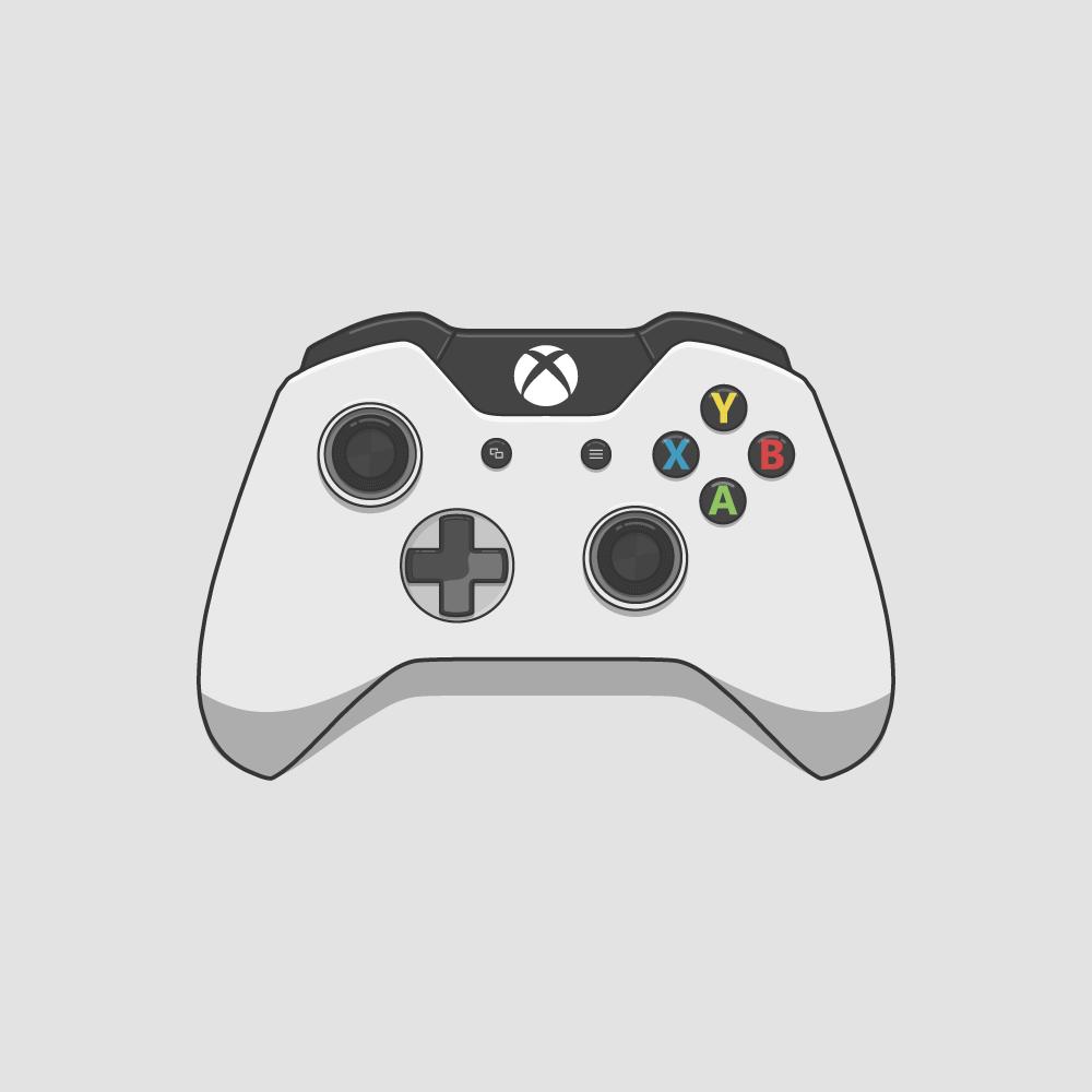 1000x1000 Xbox One Controller White Vector Digital Illustration Infantil