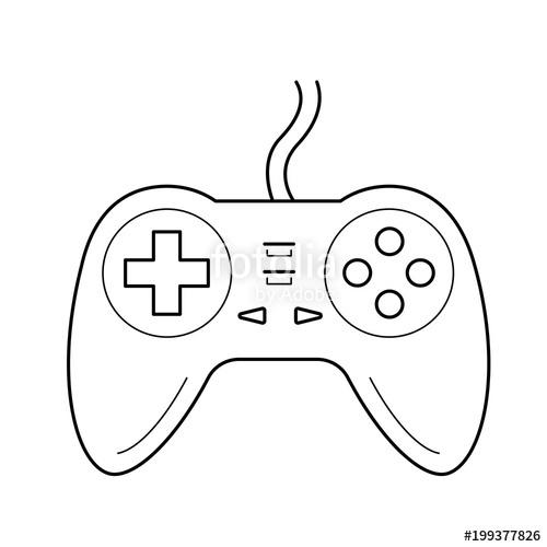 500x500 Gamepad Vector Line Icon Isolated On White Background. Joystick