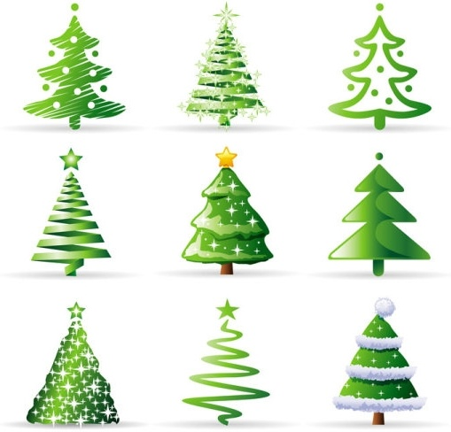 509x488 A Variety Of Cartoon Christmas Tree Vector Free Vector In Adobe