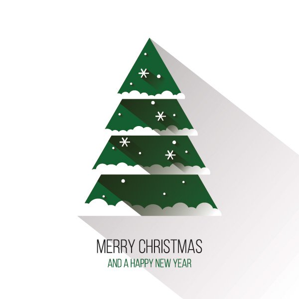 600x600 Flat Christmas Tree Vector Graphic Happy Holidays Long Shadow