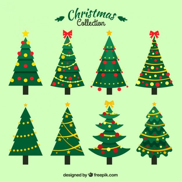 626x626 Set Of Christmas Trees With Ornaments Vector Free Download