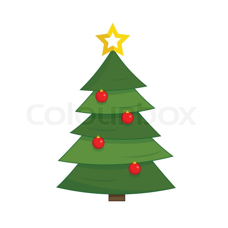 800x800 Simple Green Christmas Tree With Red Glass Baubles Stock Vector