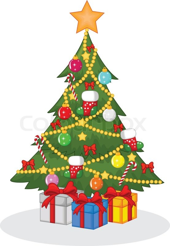 554x800 Vector Illustration Of Cartoon Decorated Christmas Tree Stock