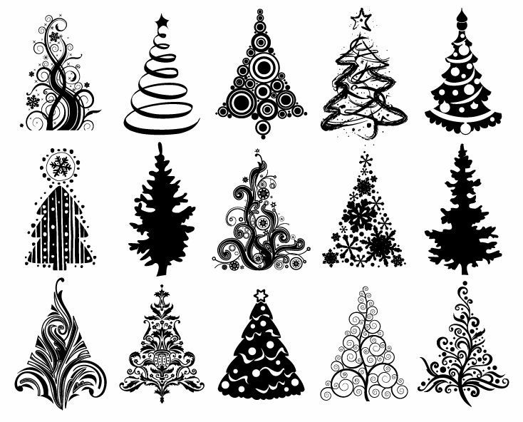 734x592 Christmas Graphic Set Of Christmas Trees Vector Graphic Free